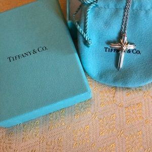 Tiffany and Co sterling and gold cross necklace